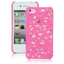 Hard Rubberized Snap Bird Nest Design Case for iPhone 4 / 4S - Hot Pink
