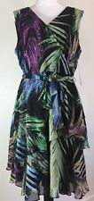 TAHARI ASL Women's Tropical Printed Sleeveless Dress Size 14 NWT Lined $128 New