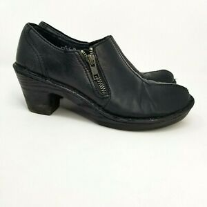 Born Leather Ankle Booties Womens Size 8 Heeled Zip stretch panel western