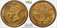 1861 Type 3 AU55 Gold Indian Princess One Dollar Civil War Coin G$1