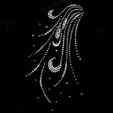 hot fix rhinestones feather motif crystal pearl iron on heat transfer design FT