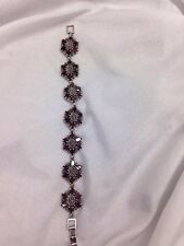 Beautiful Antique Sterling Silver Red Stone  Bracelet