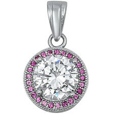 Round Ruby & Cz  .925 Sterling Silver Pendant