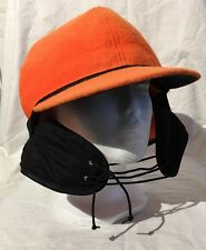 CrownCap Dry Ice Wool Orange/Black Hunting Hat Insulated Warm WInter Crown Cap