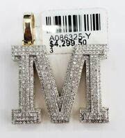 10k Real Yellow Gold Genuine Diamond Alphabet Initial Charm Pendent M Letter