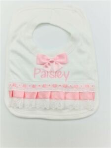 Personalised frilly bibs Spanish Romany bow overhead