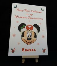 Personalised & Handmade Minnie Mouse First Christmas Card -Daughter,Grandaughter