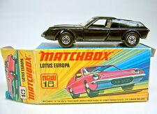 """Matchbox SF Nr.5A Lotus Europa schwarz extrem rare """"No.18"""" Box"""