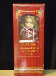 "NIB Alberon Sonia Porcelain 10.5"" Doll with Ice Skates Red Velvet Dress"
