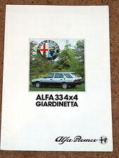 ALFA ROMEO 33 4x4 GIARDINETTA Sales Brochure c1986