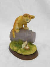 Vint Porcelain, Pottery or Resin Cat on Milk Can w/Mouse w/Bowl of Milk Figure