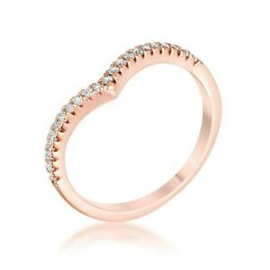 Rose Gold .22 CW CZ 925 Minimalist Geometric V Chevron Stackable Ring Size 6