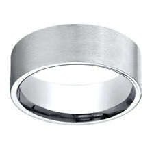 18K White Gold 8.00 MM Comfort-Fit Men's Engagement & Anniversary Band Ring Sz-9