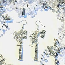 LONDON 2020 SILVER CHARM EARRINGS Big ben night star cocktail Party TRAVEL GIFT