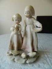 Vintage Capodimonte figurine of girls feeding birds