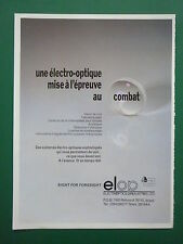 1/1984 PUB ELOP ELECTRO OPTICS REHOVOT ISRAEL NIGHT VISION TELEMETRY FRENCH AD