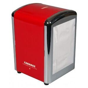 Retro 1950's Style Red Napkin Serviette Dispenser Holder c/w 1 Pack 250 Napkins