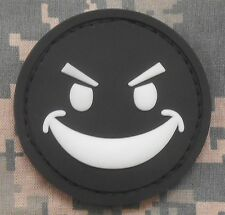 PVC GLOW EVIL SMILEY FACE GITD MORALE SWAT OPS VELCRO®HALLOWEEN FASTENER PATCH