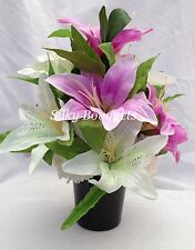 Grave Pot Artificial Silk Flower Lily Lillies Crem All Round Tribute Memorial