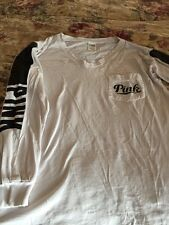 PINK XSLong Sleeved White Black Lettering T Shirt One Pocket GUC STITCHING GOOD