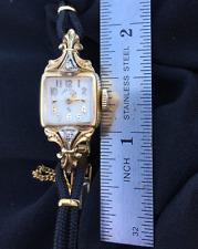 1950's Art Nouveau Revival 14kt Yellow Gold SOLID Diamond ladies Elgin Watch !!!