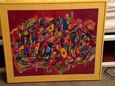 VINTAGE ABSTRACT REVERSE PAINTING ON GLASS IMPRESSIONIST MULTI COLOR SIGNED ART