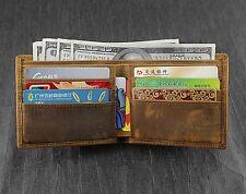 Men's Real Leather Wallet Short Bifold Cowhide Card Holder Vintage Purse Brown