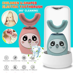 360° Contact Electric Toothbrush Kids Automatic U Shape Children Brush Age 2-15