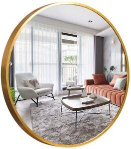 NeuType Chic Round Mirror Metal Framed Wall Mounted Mirror Hanging Golden 31.2in