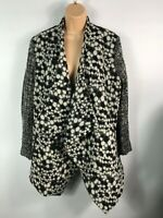 WOMENS LADY DISTRICT BLACK/WHITE SPOTTED OPEN FRONT WATERFALL COAT JACKET  UK 20