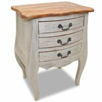 vidaXL Solid Reclaimed Wood Bedside Cabinet w/ 3 Drawers Nightstand Side Table