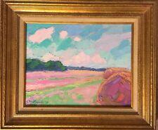 Original Oil Painting Landscape Hay Stack Expressionist Impressionism