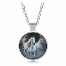 NEW Stunning Fashion White Horses Silver Plated Glass Necklace Chain & Pendant