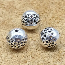 2 Sterling Silver Hollow Flower Round Ball Beads 10mm for Bracelet Spacers