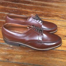 Vintage 1960s Nos Brown Leather Blucher Split Toe Shoes Men's 9
