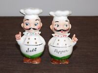 VINTAGE KITCHEN SALT & PEPPER SHAKERS CERAMIC CHEF NEW UNUSED