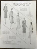 1929 Magazine Article Along the Line of Chic Paris GREAT Drawings by Clara Ernst