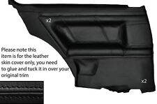 BLACK LEATHER 2X FULL REAR DOOR CARD SKIN COVER FITS AUDI TT COUPE 98-06