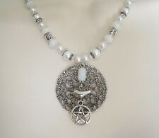 Moonstone Pentacle Necklace, wiccan pagan wicca witch witchcraft pentagram magic
