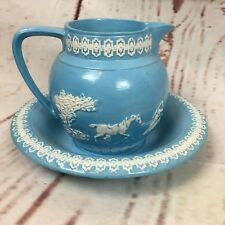 Vintage Arners Water Pitcher and Bowl Blue White Horses KMS 80