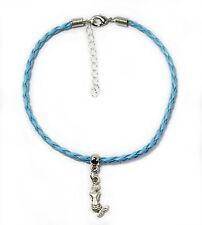 "Gypsy Anklet Bright Blue Plaited Leather Mermaid Charm 24cm 9.4"" Australia Made"