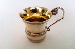Beautiful Foreign Solid Silver Vodka Shot Cup Circa 1893