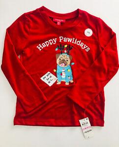 Macy's Family PJs Pajama Top 'Happy Pawlidays' Multicolor Size S 6/7 NWT