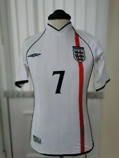"""BECKHAM 7 England Football Shirt 2001 Home Vintage RetroRare S 40"""""""