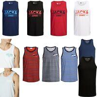 New Jack & Jones Mens Vest Tank Top Scoop Neck Gym Beach Singlet White Black