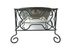 YML 7-Inch Wrought Iron Stand with Single Stainless Steel Bowl - Size: Medium