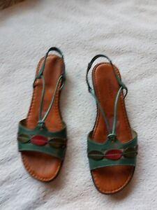 Pavacini Ladies Teal Leather Casual Sandals Size 7.5/41