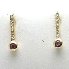 NEW 14k yellow gold Pink Sapphire & Diamond Earrings Posts Handmade