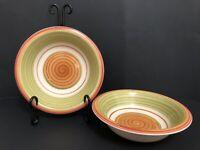 "Set of 2 Pier 1 Valencia Soup Cereal Bowls 8 1/4"" Orange Green Swirl Stoneware"