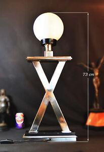 "Scandinavian Giant Nickle plated steel & Marble 1970s ""X"" lamp Opaline shade"